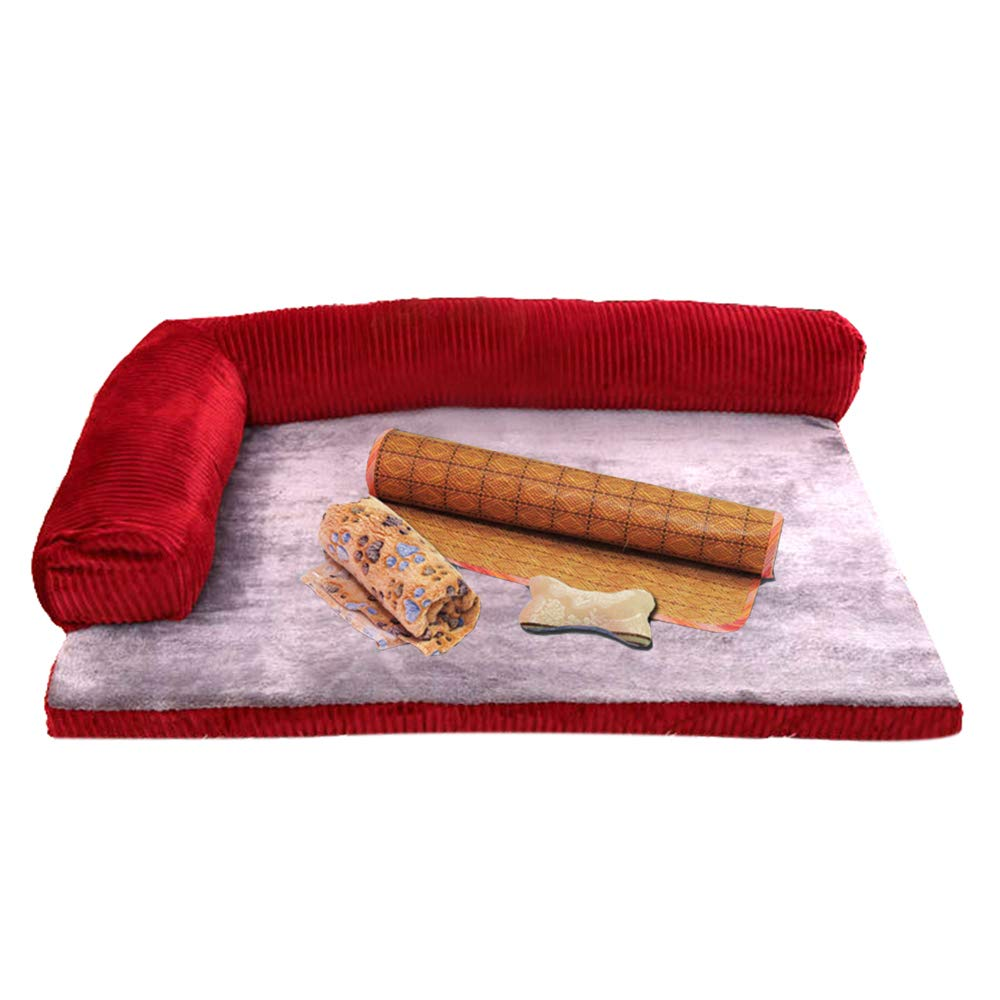 Red Small Red Small Pet Dog Bed Luxury Memory Foam Lounge Chair L-Shaped Sofa