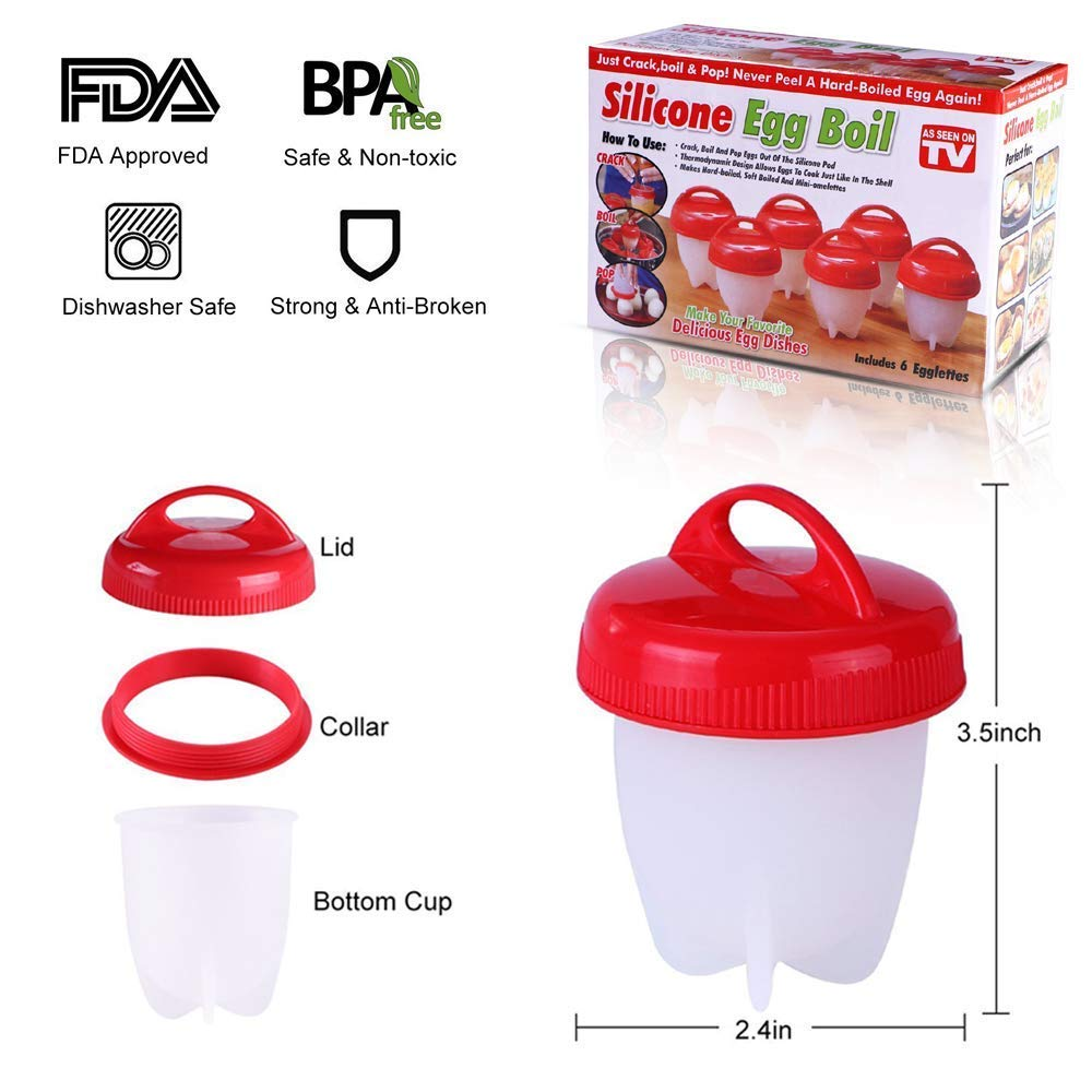 Egglettes Egg Cooker Hard Boiled Eggs Without the Shell, Non Stick Silicone Egg Poachers(6 pack Cups) by DUT (Image #6)