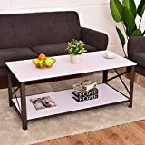 Premium Low Wooden Coffee Table With Smooth White Finish And Lower Storage Shelf For Contemporary Home And Living Room (White)