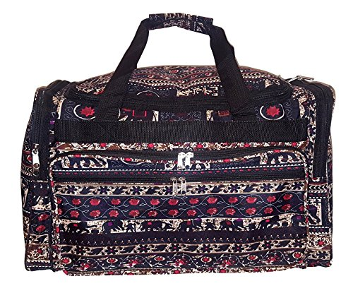 - 22 inch Fashion Multi Pocket Gym Dance Cheer Travel Carry On/Duffle Bag (Blank - Elephant Tapestry)