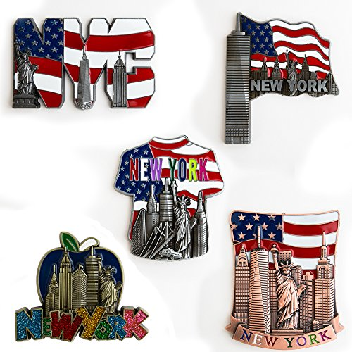 5 Set New York Souvenir - Metal Fridge Magnet - Freedom Tower, Statue of Liberty, Empire State Building, Brooklyn Bridge And Landmark Skylines - NY Collections
