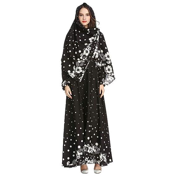 d48b194087f8 Meijunter Muslim Maxi Dress with Hijab for Women - Long Sleeve Abaya Dubai  Kaftan Floral Print Ethnic Robe for Ramadan M-XXL: Amazon.co.uk: Clothing