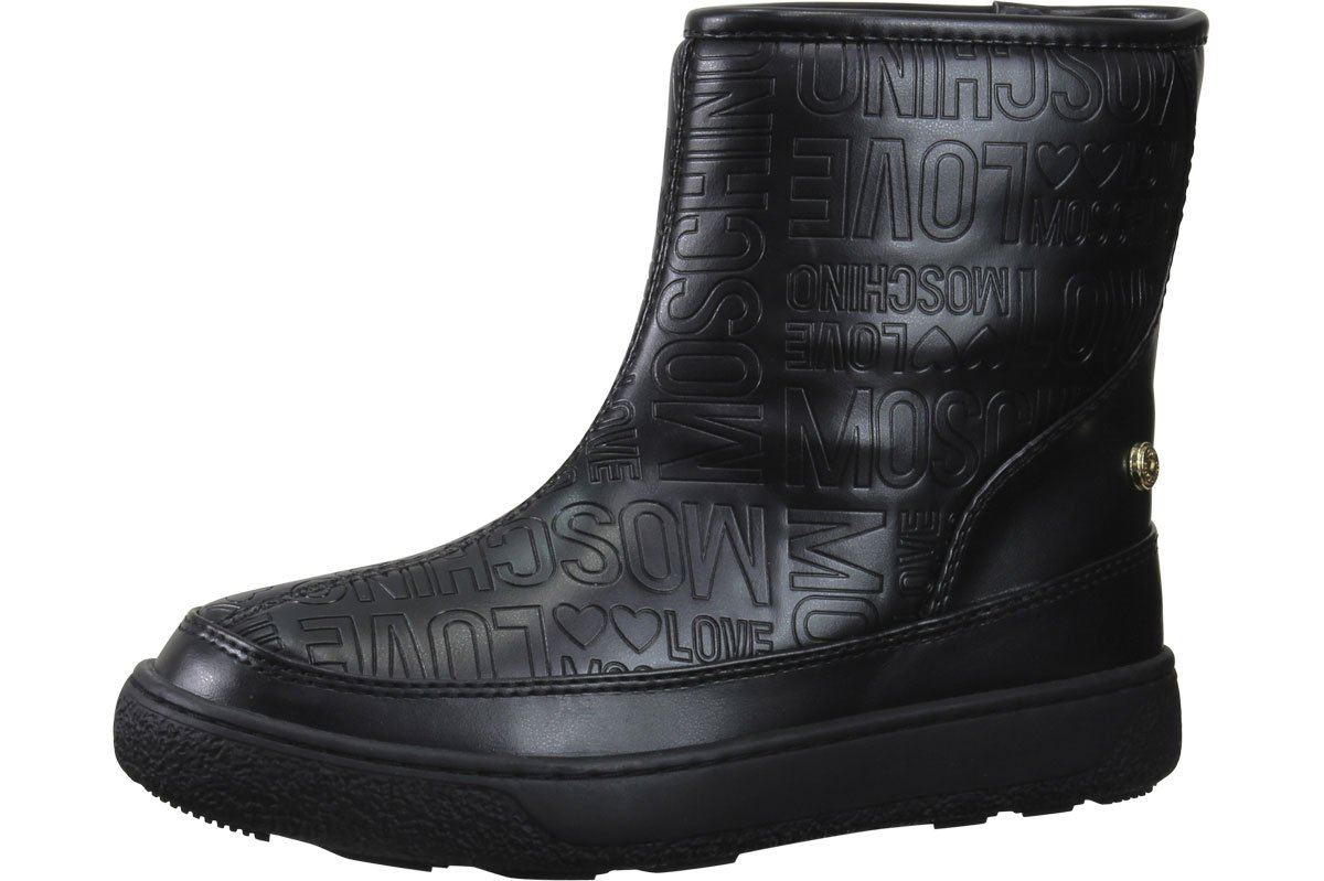 Love Moschino Women's Embossed Logo Print Black Ankle Boots Shoes Sz: 7