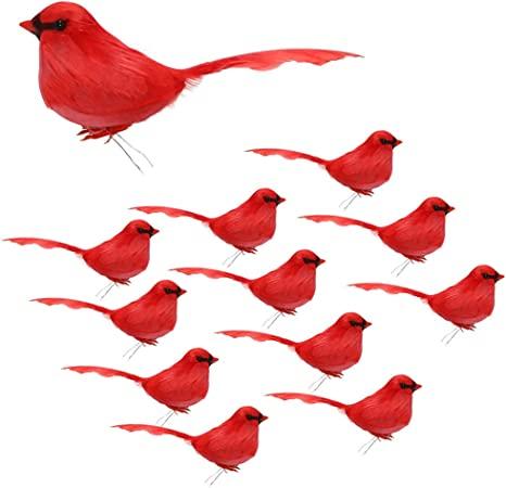 12Pcs Cute Artificial Feather Bird Christmas Tree Hanging Ornaments Home Decor