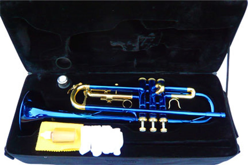 New Blue Concert Band Trumpet w/case-Approved+Warranty