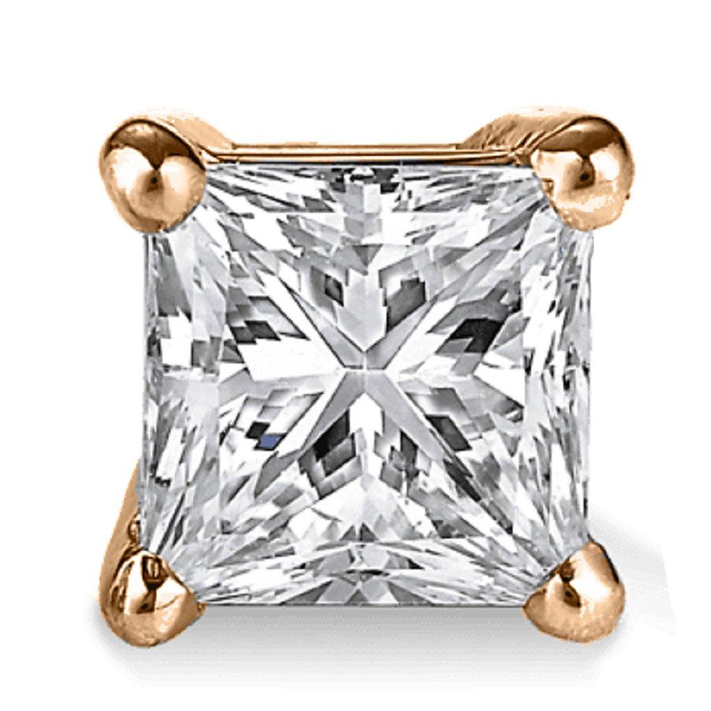 Rose Gold Yellow PARIKHS Princess Single Diamond Stud Promo Quality in White