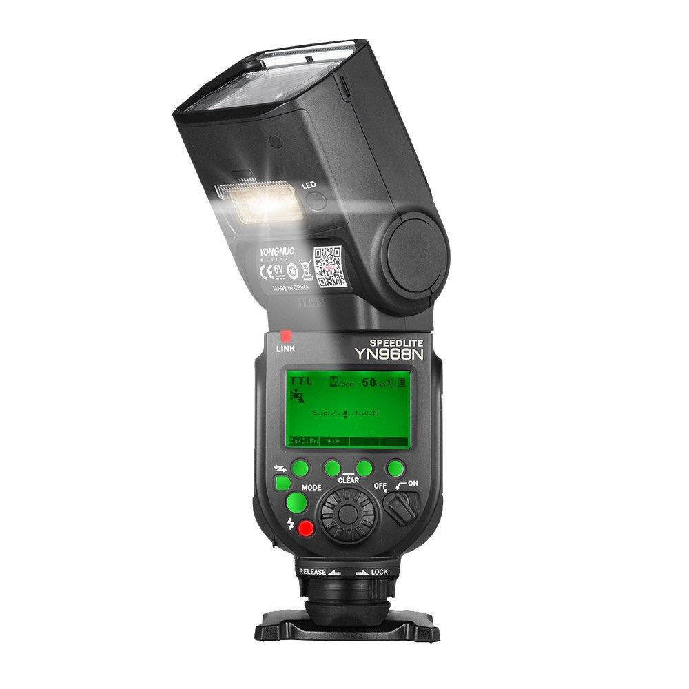 YONGNUO YN968N Wireless TTL Flash Speedlite 1/8000s HSS Equipped with Built-in LED Light 5600K for Nikon DSLR Cameras Compatible with YN622N YN560 Wireless System by Yongnuo