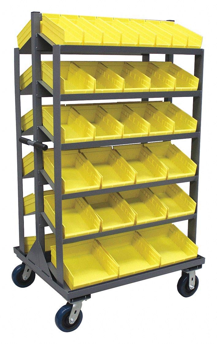 Steel Mobile Pick Rack with 58 Bins, 36''W x 30''D x 66''H, Load Capacity: 2000 lb, Gray