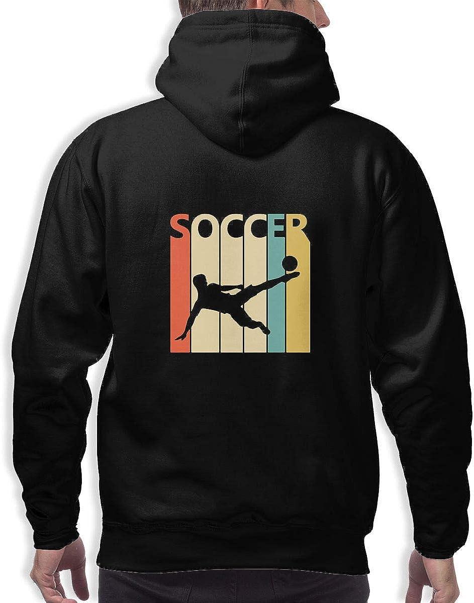 Vintage Retro Soccer Player Pullover Hoodie Men Hooded Sweatshirts Long Sleeve Tops
