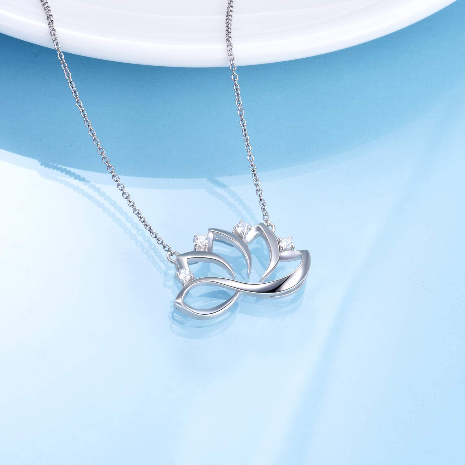 WINNICACA Hummingbird Lotus and Tree of Life Pendant Sterling Silver Necklace for Women Birthday Gifts