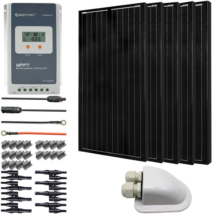 ACOPOWER 500 Watts 12 Volts Monocrystalline Panel Solar RV Kits with 40A MPPT LCD Charge Controller Mounting Brackets MC4 Connectors Solar Cables Cable Entry housing