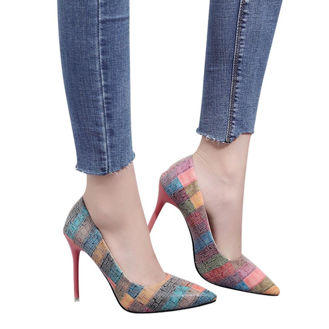 Xinan Femme Mode Escarpins Escarpins Femme Mode Féminine Mince Talons Chaussures Couleurs Mélangées Sauvages Peu Profondes Talons Hauts Chaussures 2018 (EU:36, Orange) china