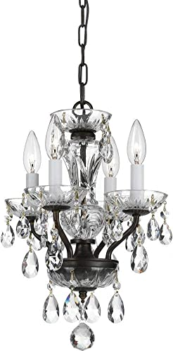 Crystorama 5534-EB-CL-I Crystal Four Light Mini Chandelier from Traditional Crystal collection in Bronze Darkfinish, 11.00 inches