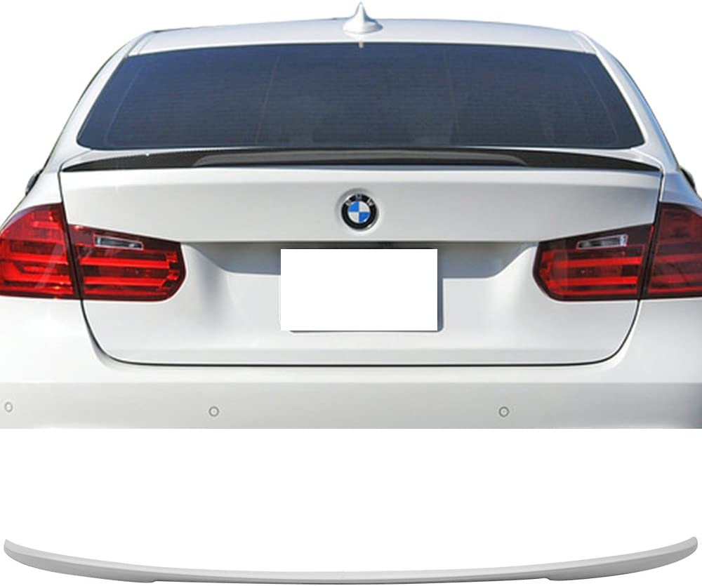 For BMW F30 3-Series Sedan 4Dr Painted 300 White P Style Trunk Spoiler Wing
