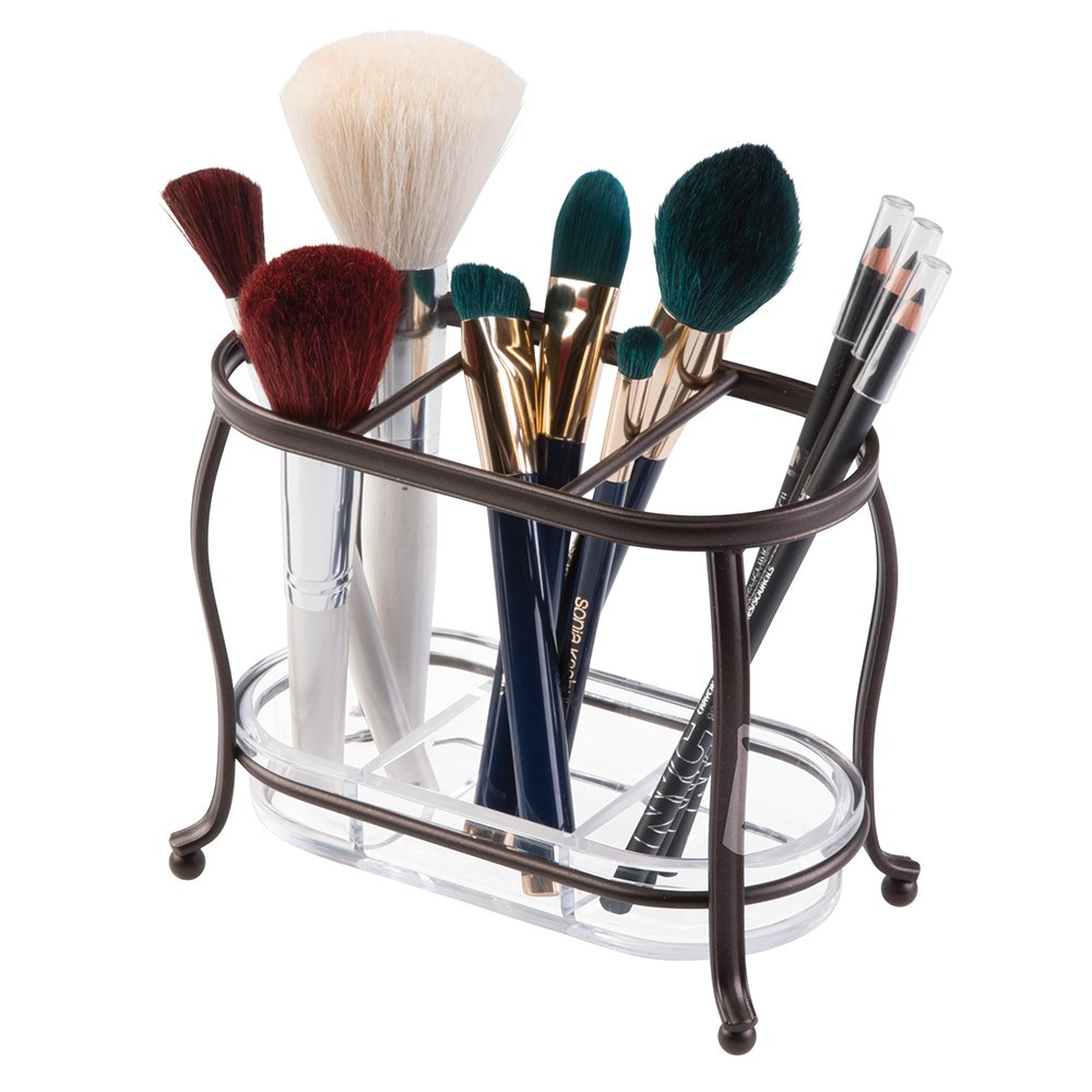 mDesign Decorative Makeup Brush Storage Organizer Tray Stand for Bathroom Vanity Counter Tops, Dressing Tables, Cosmetic Stations - 3 Sections with Removable Bottom Tray - Bronze/Clear by mDesign