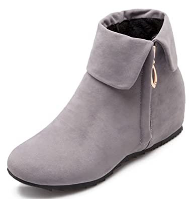 Women's Sweet Fold Side Zip Up Flat Heighten Ankle Boots Faux Suede Short Booties