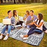 """AMMSUN Picnic Blanket Foldable Beach Mat Extra Large 80"""" X 80"""" for 6 Adults Picnic Mat Machine Washable Sandproof Waterproof Folding Portable Camping Blanket for Travel and Music Festivals -Stripe"""