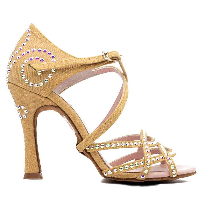 e01ccd4c97 Manuel Reina - Zapatos de Baile Latino Mujer Salsa Competition 01 Volga 109  Dorado - Bailar Bachata