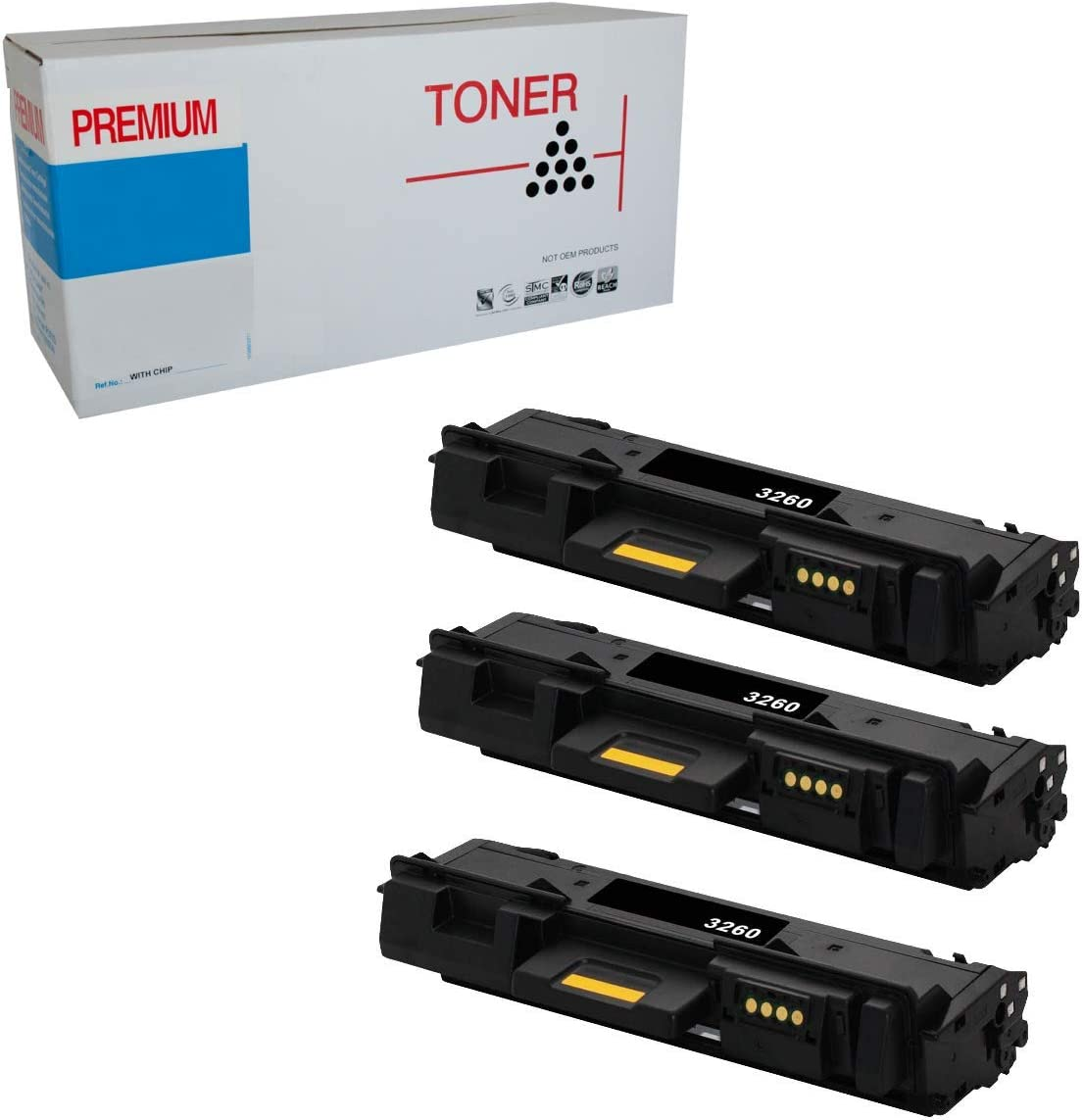 Office Bee Compatible 3 Pack 106R02777 Toner Black Cartridge for Xerox WorkCentre 3215 3225 Xerox Phaser 3260, Page Yield for 3000 Pages - Black