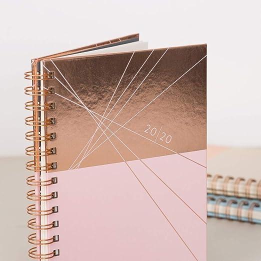 Juli bis Juli Ivory Diary Matilda Myres 2019-20 Terminplaner mit Rotgold Spiralbindung A5