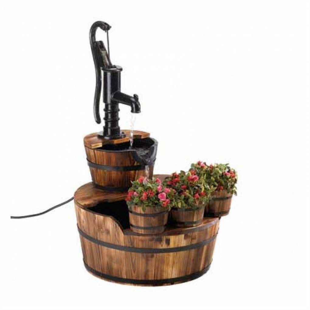Old Fashioned Water Pump Barrel Fountain by Generic