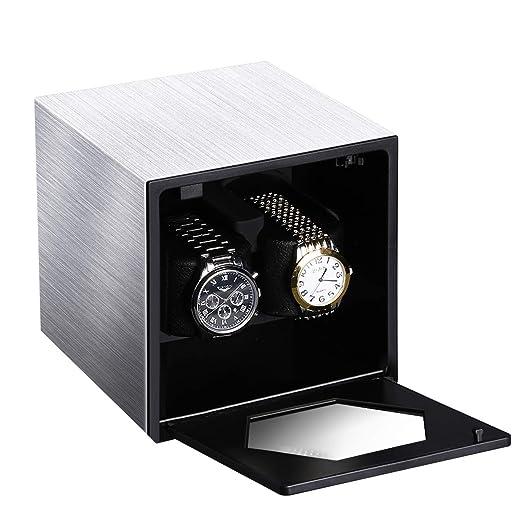 CRITIRON Watch Winder, Caja Giratora 2+0, Caja para Relojes Automáticos, Motor de Calidad y Silencioso, 4 Modos de Rotación,Plata: Amazon.es: Relojes