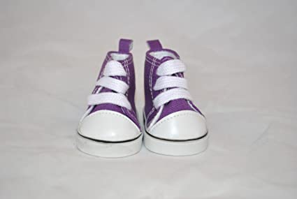 Purple High Top Tennis Shoes for American Girl Doll and 18 Inch Dolls