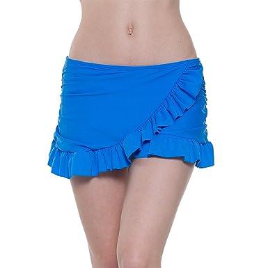 45f0138af23a21 YoungSoul Damen Bikini Rock mit Innenslip Strandrock Badeshorts Baderock  mit gerafften Rüschen: Amazon.de: Bekleidung