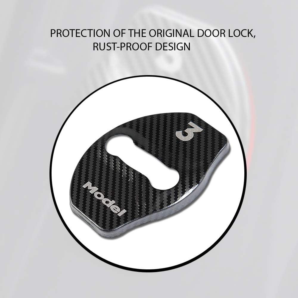 4 Pcs CoolKo Stainless Steel Design Car Door Lock Striker Protection Compatible with Tesla Model 3