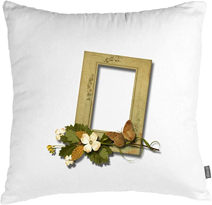 Genehki Photo Frame Throw Pillows Case Cushion Covers Shell Cotton 50cmx50cm Beige Amazon Co Uk Kitchen Home