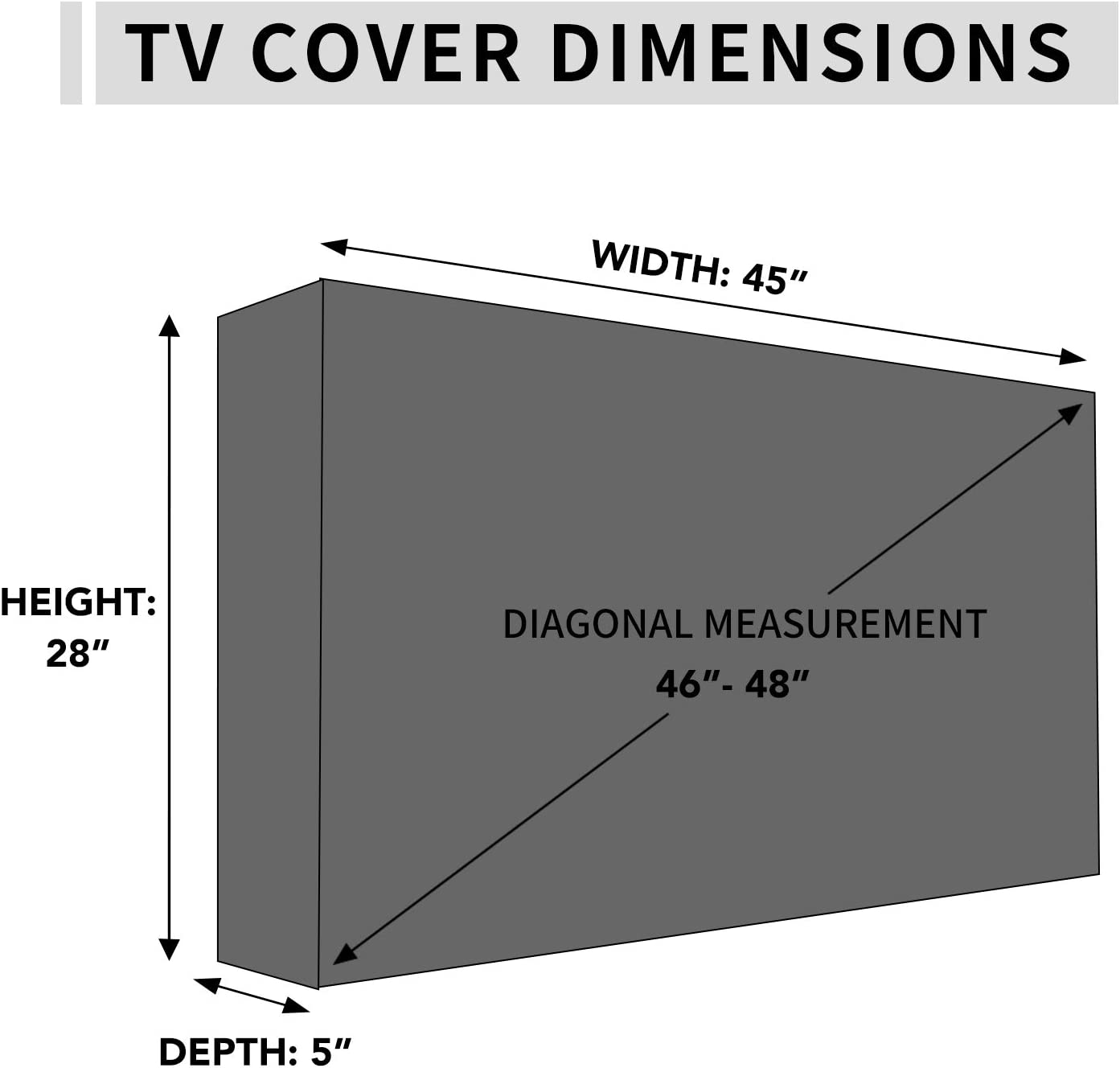 Durable TV Cover with Free Cleaning Cloth Black 36-38 inch Outdoor TV Cover with Front Flap for Watching TV on Rainy Days,Convenient Use without Remove