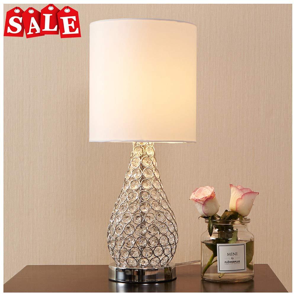 POPILION Alloy Crystal Base Elegant Appearance Crystal Table Lamp,Long Lampshade