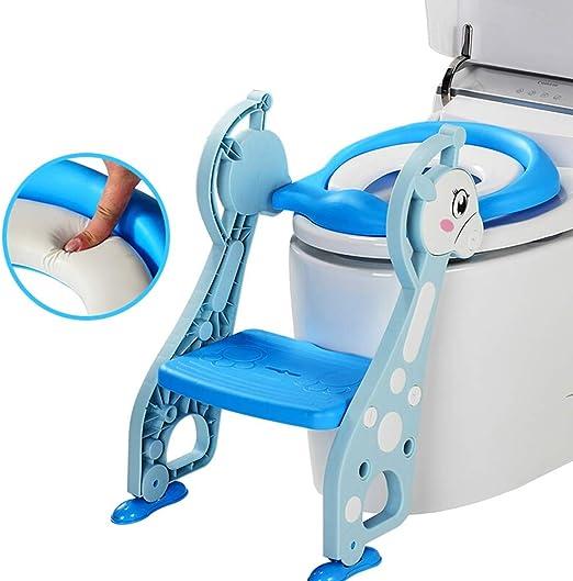 Aseo Escalera Asiento -Masculino Y Femenino Bebé Asiento De Inodoro Infantil Entrenamiento Inodoro Escalera Diseño Plegable PU Inodoro para Niños HENGXIAO (Color : Azul): Amazon.es: Hogar