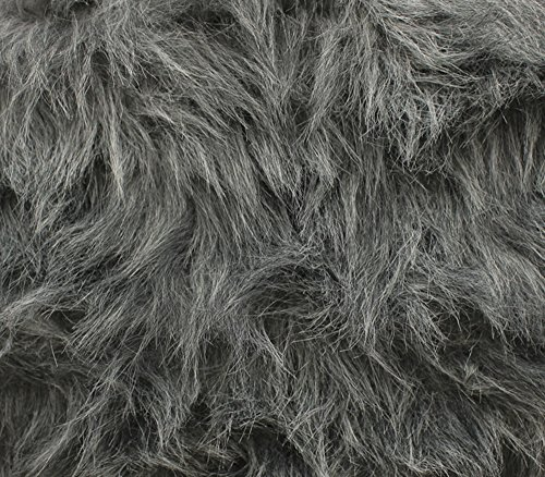 Faux Fur Fabric Long Pile Monkey Shaggy Charcoal / 60