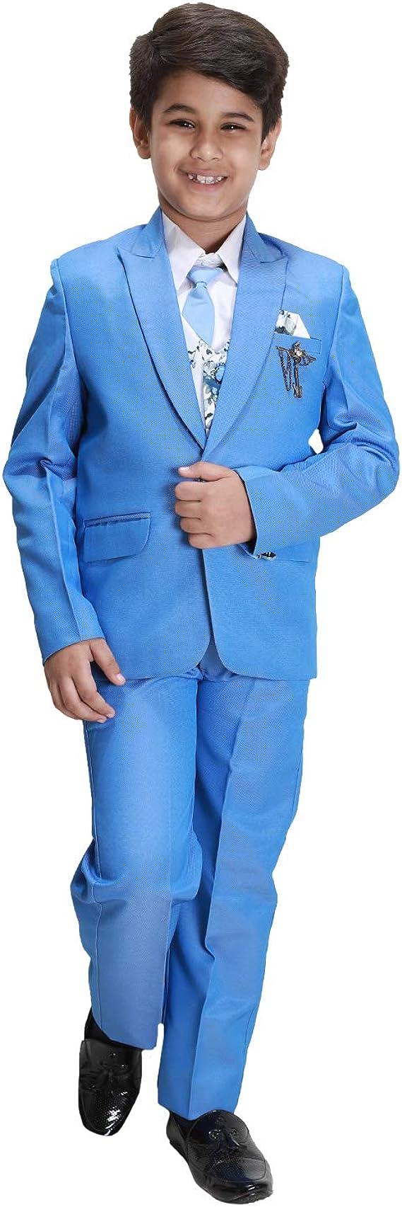 Fourfolds 5 Piezas Traje de Abrigo con Camisa Blazer Chaleco y ...