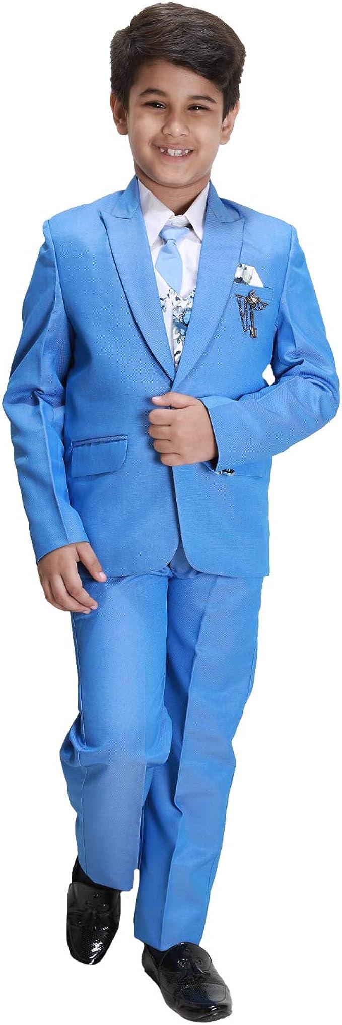 Fourfolds 5 Piezas Traje de Abrigo con Camisa Blazer Chaleco y Corbata para niños y niños_FS134 Turquesa Azul Claro 7-8 Años: Amazon.es: Ropa y accesorios