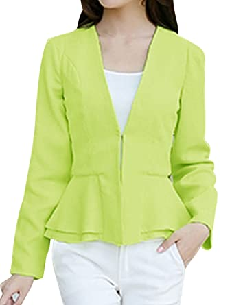uxcell Women Hook Eye Closure Button Tab Back Peplum Blazer Jacket Lime M