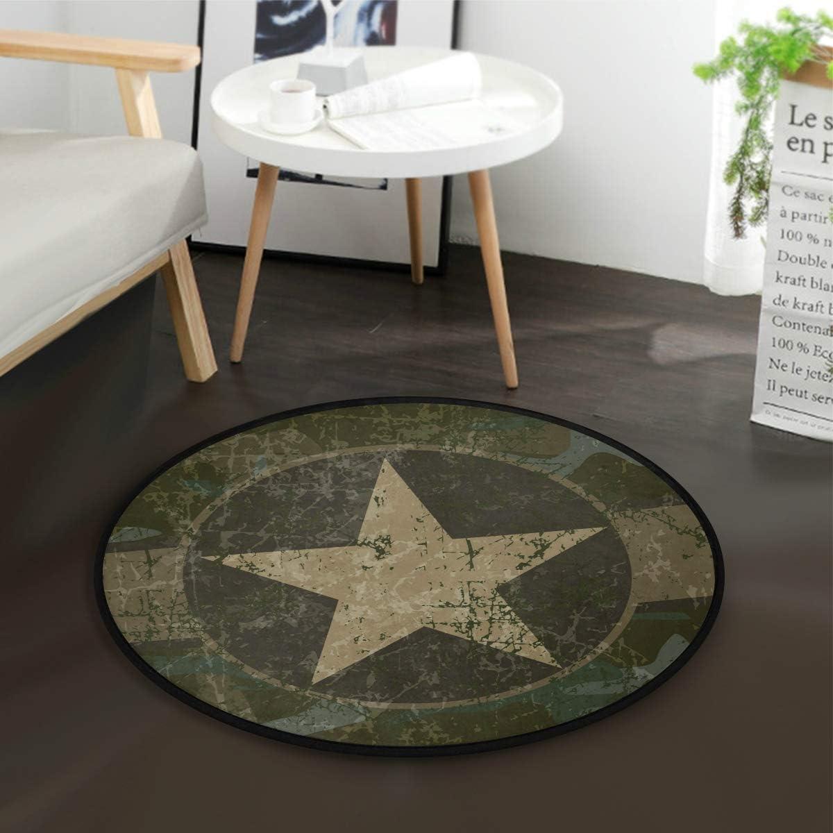 ALAZA Vintage Military Camo Round Area Rug for Living Room Bedroom 3 Diameter 92 cm