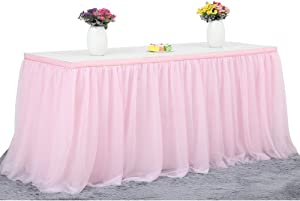 Haperlare 14ft Tablecloth Pink Tulle Table Skirt Queen Snowflake Wonderland Tulle Pink Tablecloth Tutu Tablecloth Skirting for Wedding Party Baby Shower Christmas Birthday Banquet Table Decorations