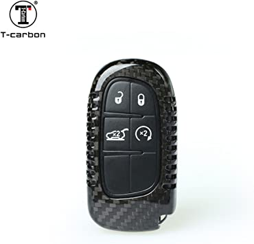Amazon Com Carbon Fiber Key Fob Cover For Jeep Cherokee Key Fob Remote Key Fits Jeep Cherokee Smart Keyless Start Stop Engine Car Key Light Weight Glossy Finish Key Fob Protection Case