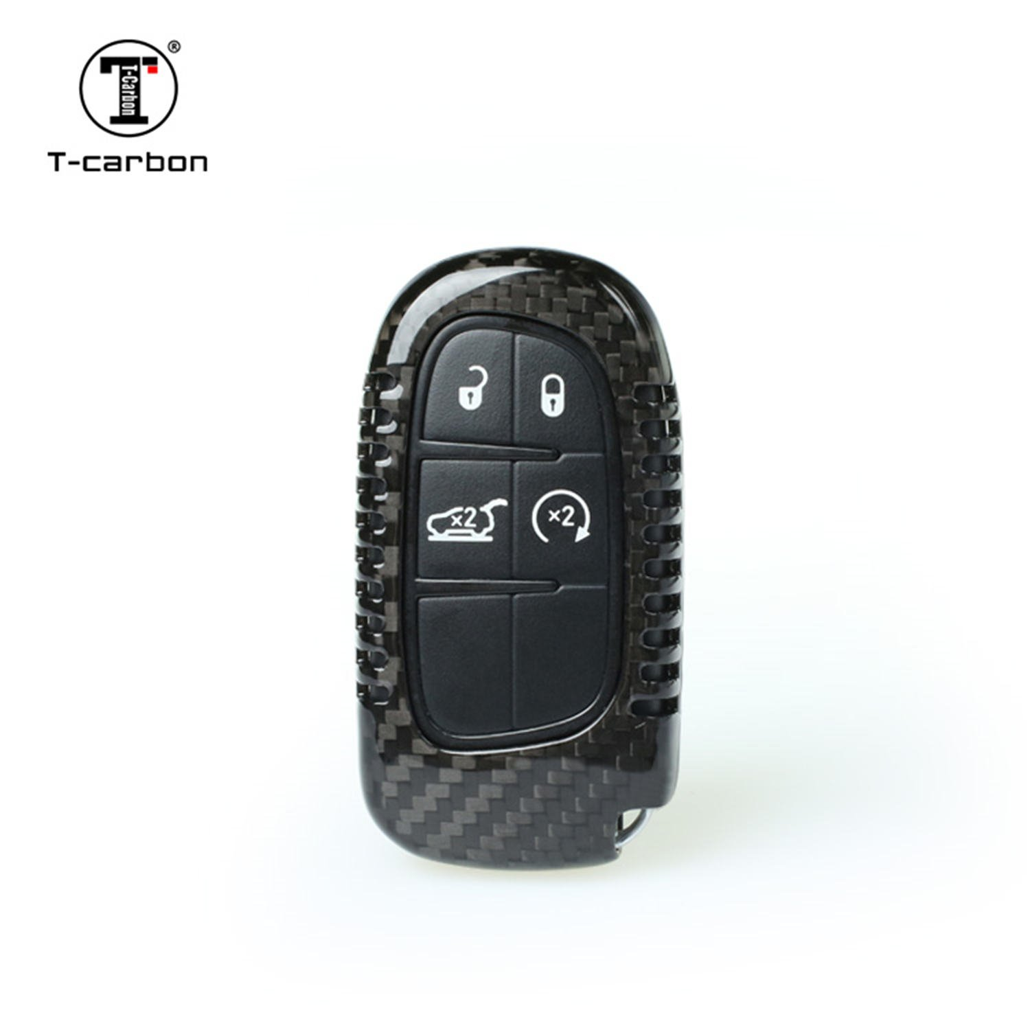 Carbon Fiber Key Fob Cover for Jeep Cherokee Key Fob Remote Key Light Weight Glossy Finish Key Fob Protection Case Fits Jeep Cherokee Smart Keyless Start Stop Engine Car Key Black
