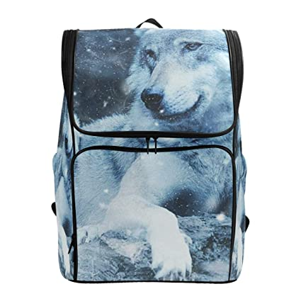 b9cc786eaabd Amazon.com: Travel Backpack Wolf Snowflake Night Duffle Backpack for ...