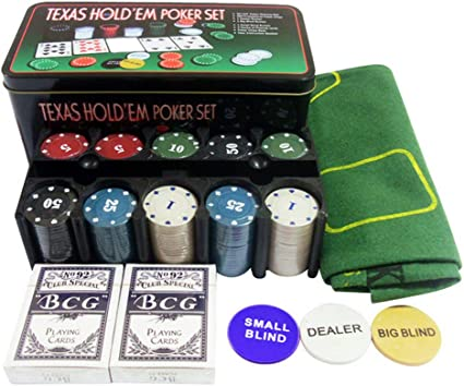 Casino Style Texas Hold Em Poker Chip Set 200 Pcs with Layout Mat
