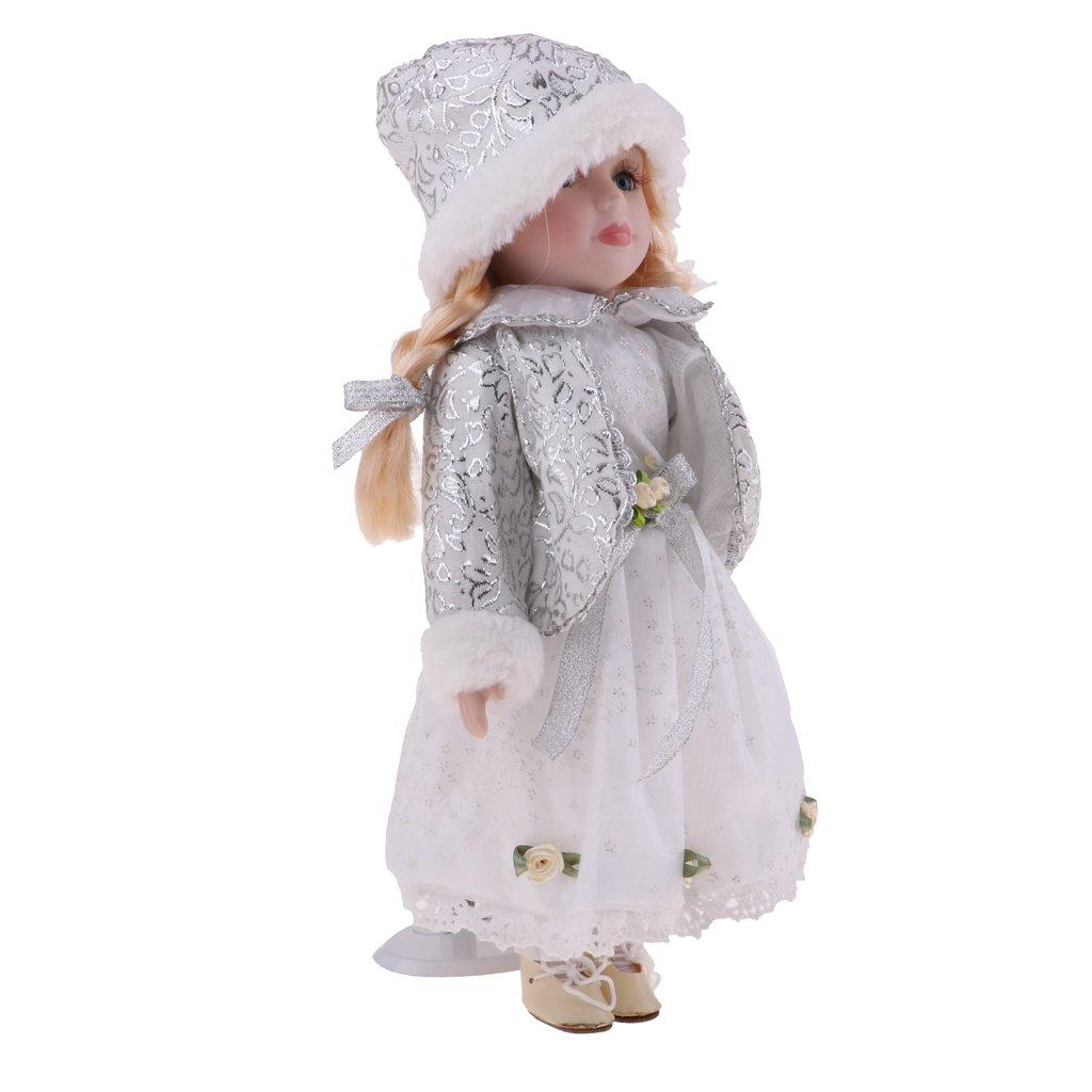 D DOLITY Poup/ée de Collection Fille Victorienne en Porcelaine Robe et Chapeau Enfant Cadeau Blanc