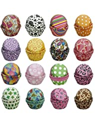Cupcake-Liners Baking-Cups SophieBella Value-Pack for Party, Holiday, Birthday (400 ct 16 styles Random)