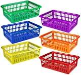 "6 Pack - Plastic Colorful Storage Baskets, Paper, Office Supplies, Toys and Teacher Classroom Organization Bins, 15"" x 10"", Assorted Colored"