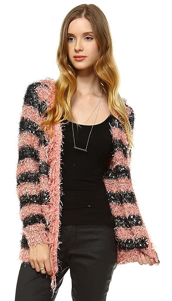Front Closure Black Salmon 1 Zoozie LA Women's Furry Sweaters Cardigan Jacket with Soft Furry Material