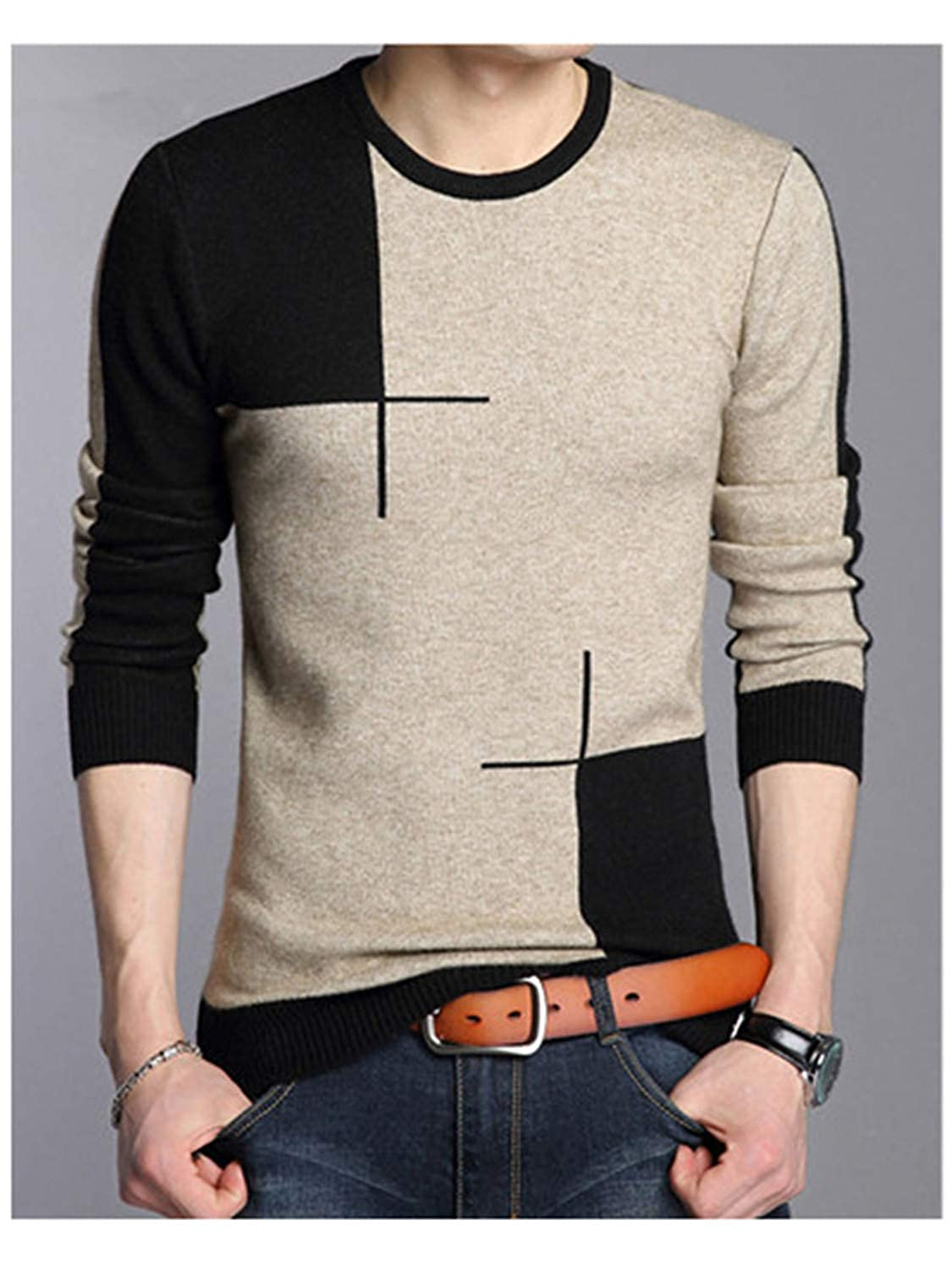 Gomis O-Neck Wool Sweater Men Knitted Cashmere Pullover Men