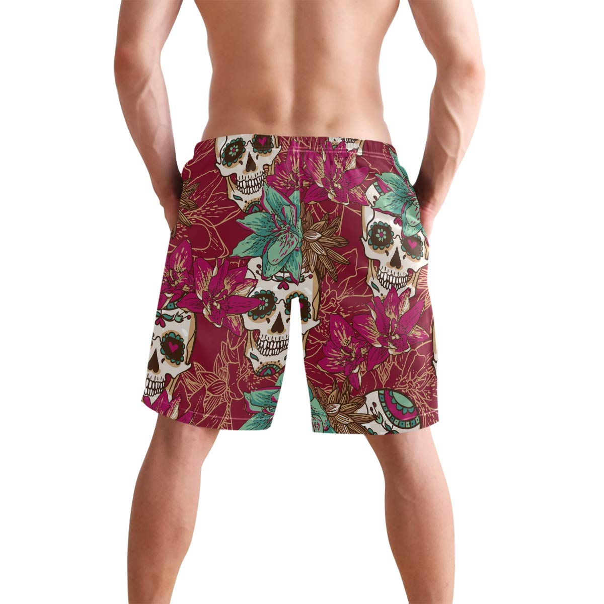 COVASA Mens Summer ShortsSkull Hearts and Flowers Background