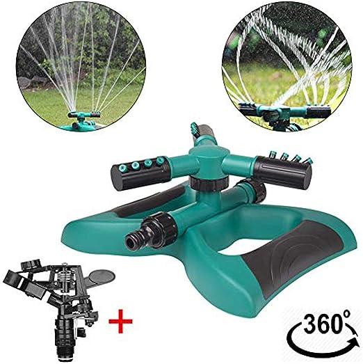 HIMM Sistema de aspersor de Césped, Giratorio 360 automático para Jardín, aspersores de Agua, riego de Césped – hasta 3600 pies Cuadrados Cobertura con 3 Brazos Gratis riego Spray Agua: Amazon.es: Jardín
